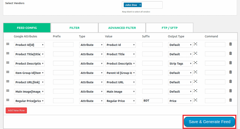 Create Product Feed for individual vendor step 2