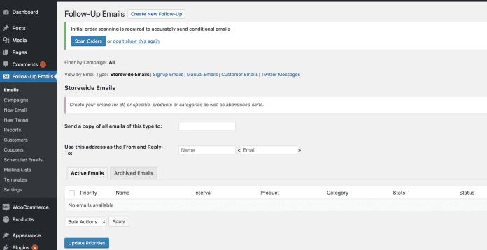 Follow Up Emails WordPress Dashboard