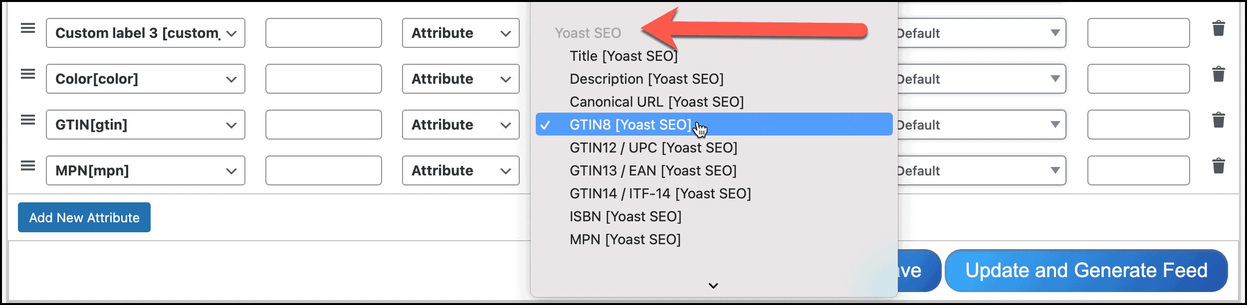 Configure Yoast SEO WooCommerce GTIN MPN into feed.