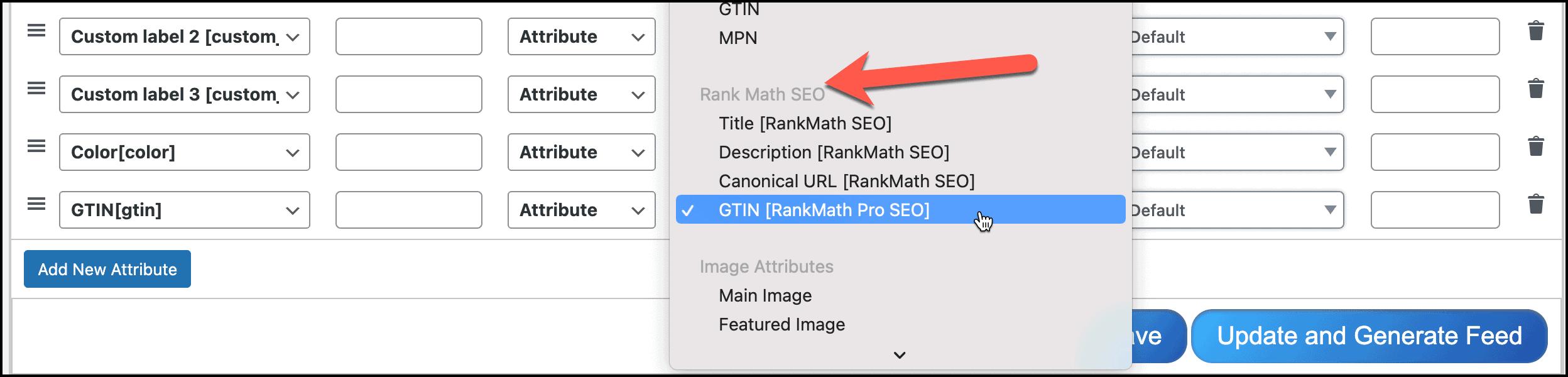 Configure Rank Math SEO Pro GTIN field into feed
