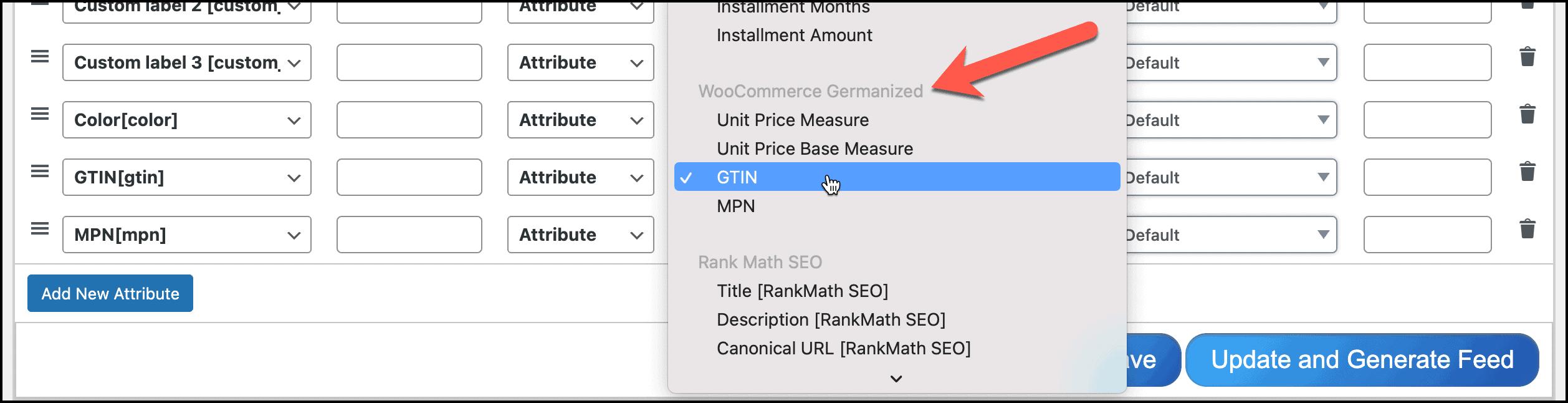 WooCommerce Germanized GTIN MPN feed config