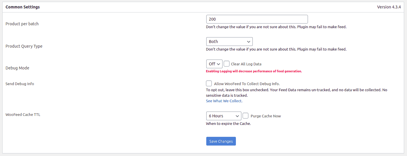 General settings section of WooCommerce Product feed