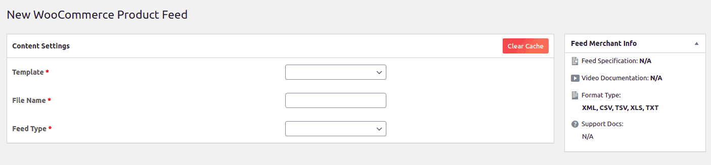 Content settings page to create new feeds.
