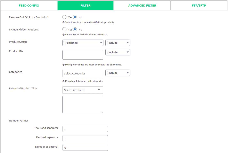 generate fegenerAdvanced filter options.