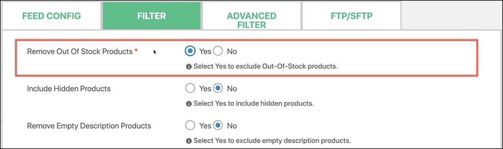 How to remove out of stock products from feed