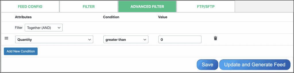 Advance filter options of CTX Feed pro