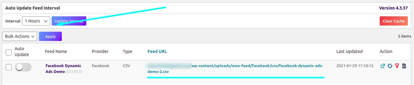 Automatic feed update option and feed URL generated by CTX Feed