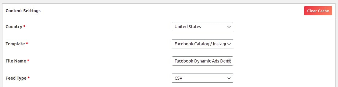 Content Settings of the CTX Feed plugin