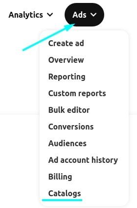 Pinterest catalog under the Ads tab