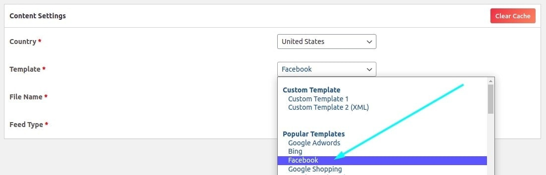 Select the Facebook template from the drop-down