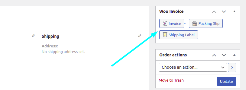 PDF invoice and packing slips on the edit order section