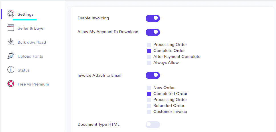 Options in settings to attatch the PDF invoice in Emails