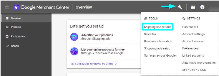 Shipping and return option on Google Merchant Center