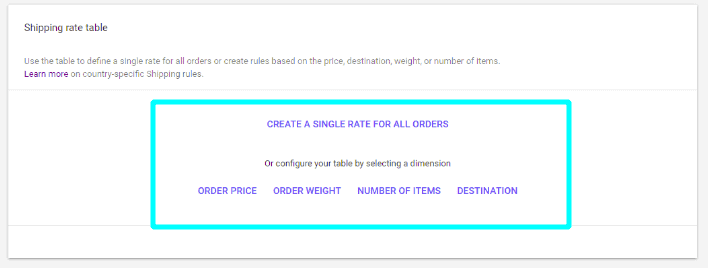 Shipping rate table options on Google Merchant Center