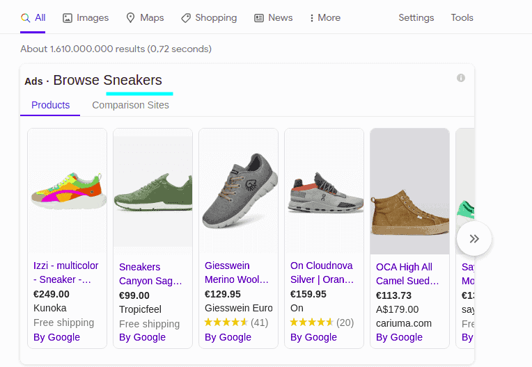 Shopping Suggestion in Google