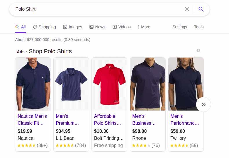 Shopping suggestions offered by Google