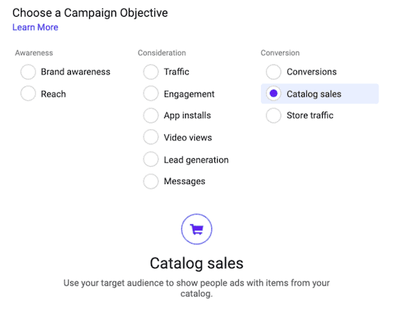 Campaign objectives on Facebook dynamic ads