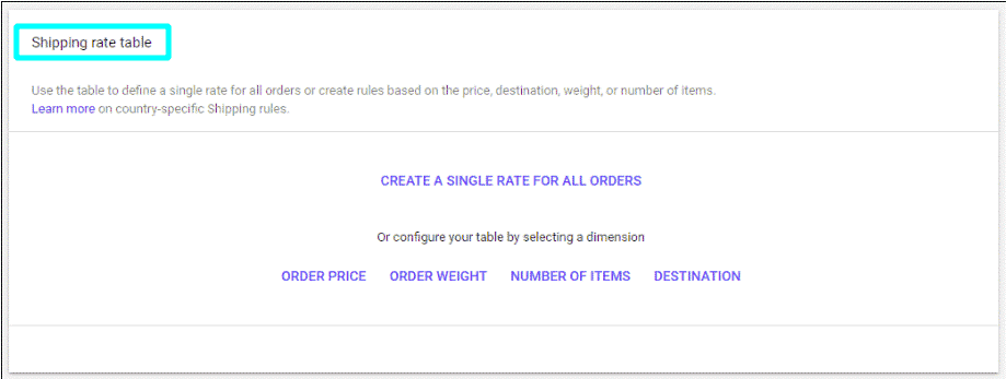 Configure your shipping rate table