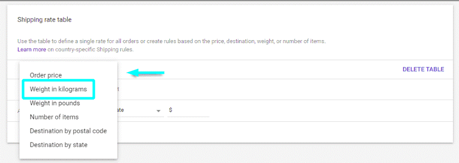 Create rules based on weight