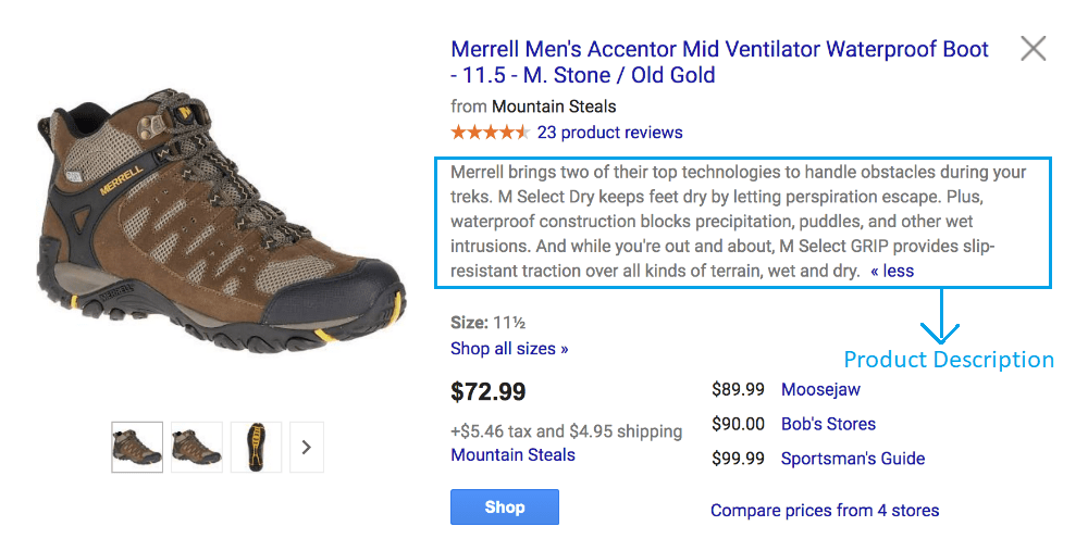 Product Description of Google Shopping Ads