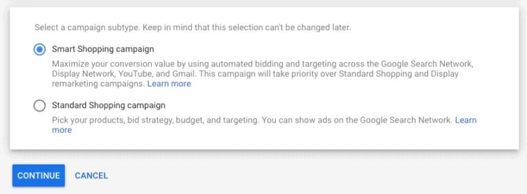 Standard Vs smart shopping option on Google shopping ads
