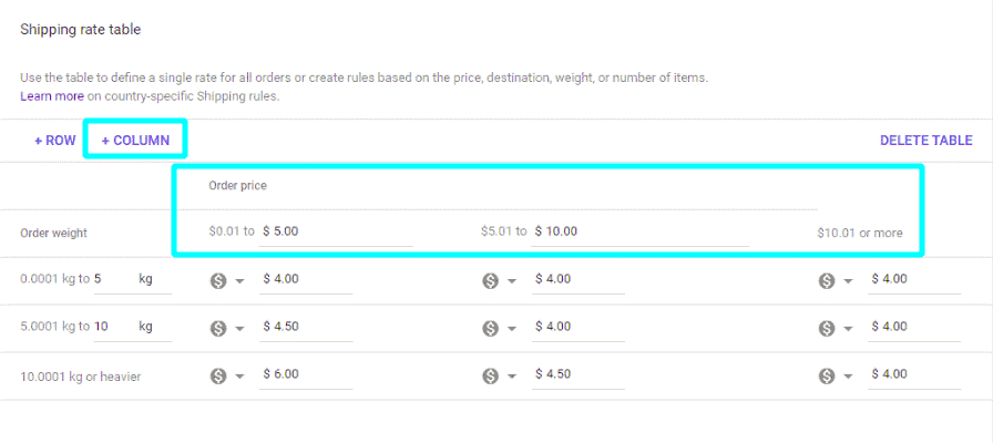 Weight-based shipping rate table