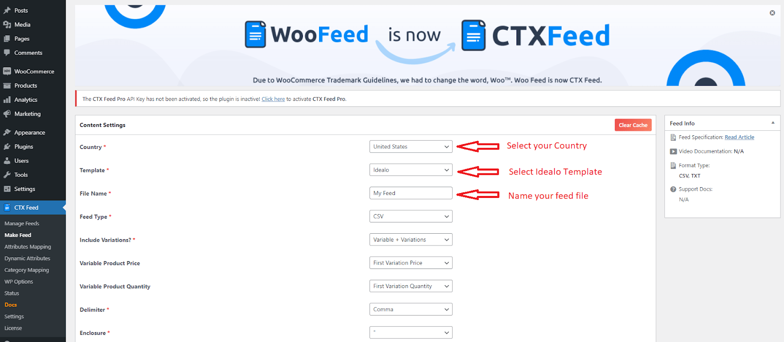 idealo template selection section in CTX Feed plugin