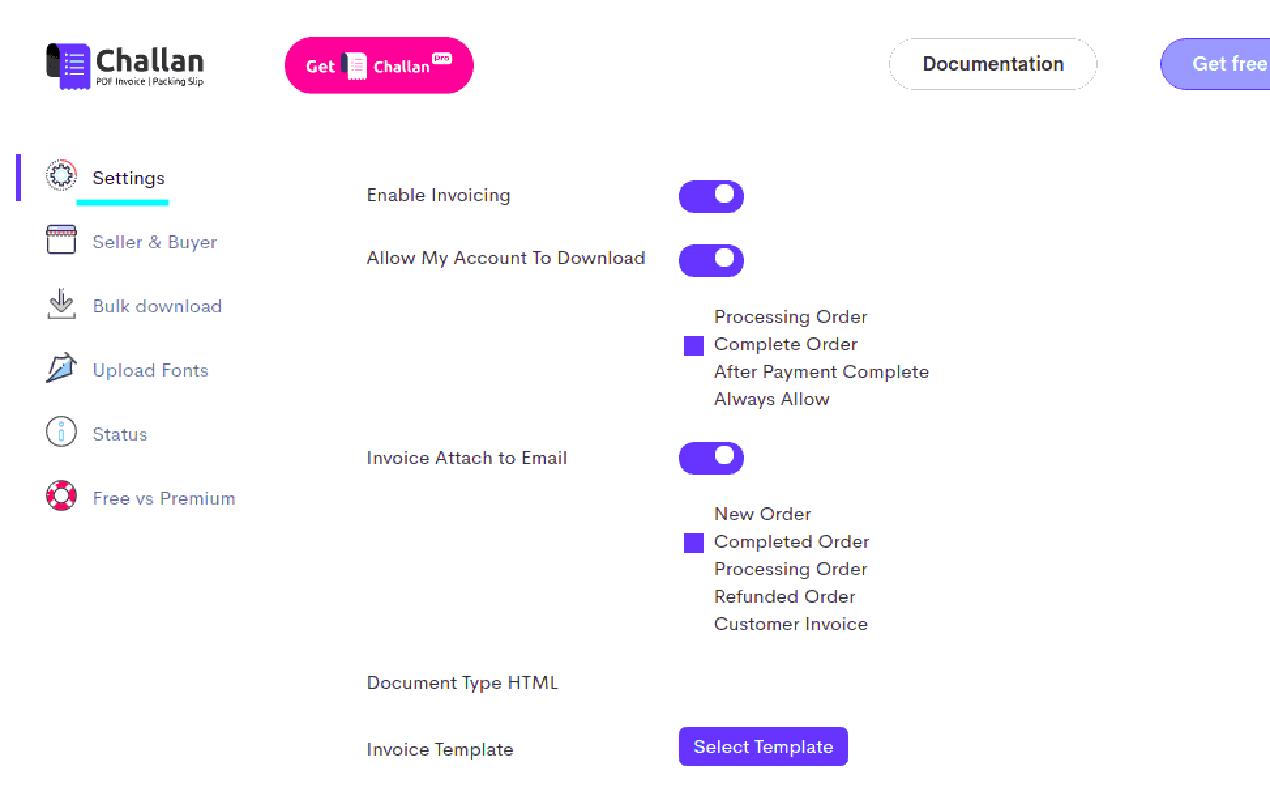 Chalan woocommerce pdf invoice plugin setting options.
