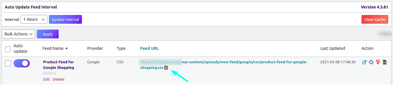 Product feed link and option to copy under Manage Feeds