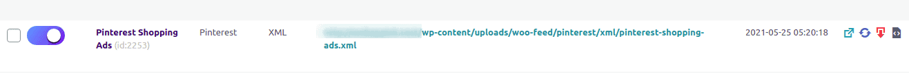 URL of the generated feed file for pinterest feed