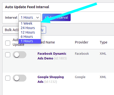 Feed update interval on the Manage Feed window of CTX Feed
