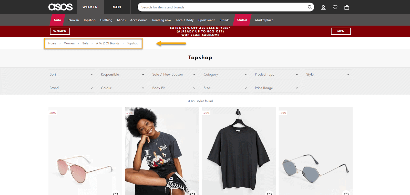 Example of Asos with it's breadcrumbs
