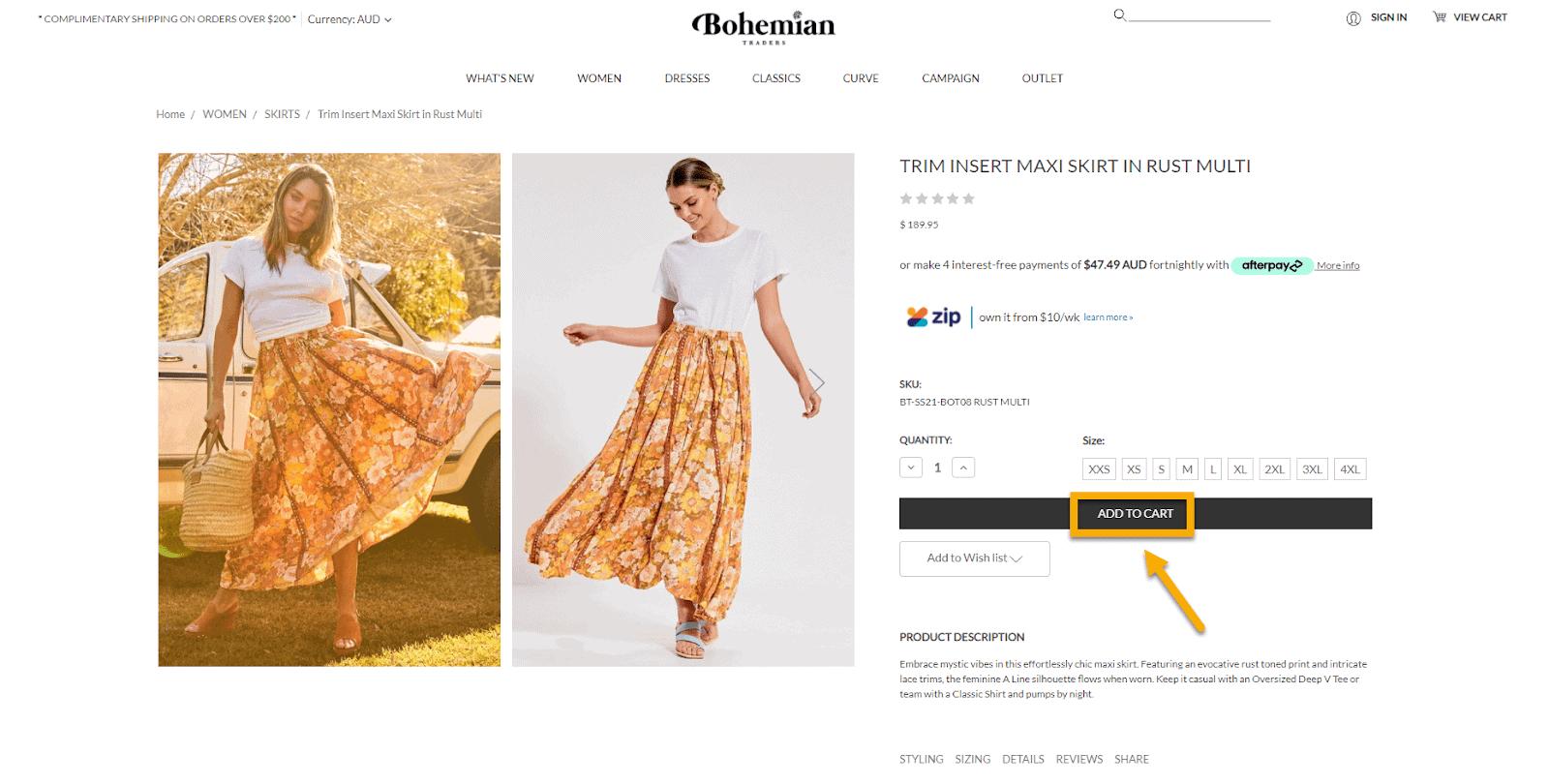 Bohemian Trader's CTA a fashion ecommerce store