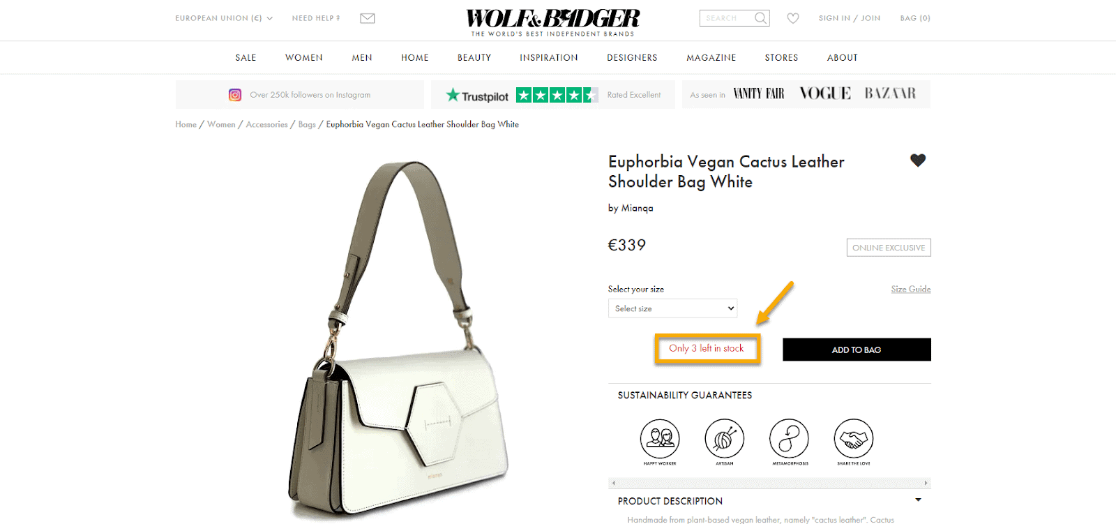 Example of scarcity or urgency principle for a fashion ecommerce store