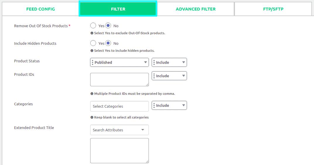 Filter tab of CTX Feed plugin