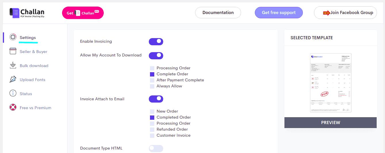 Settings options of Challan pdf invoice plugins