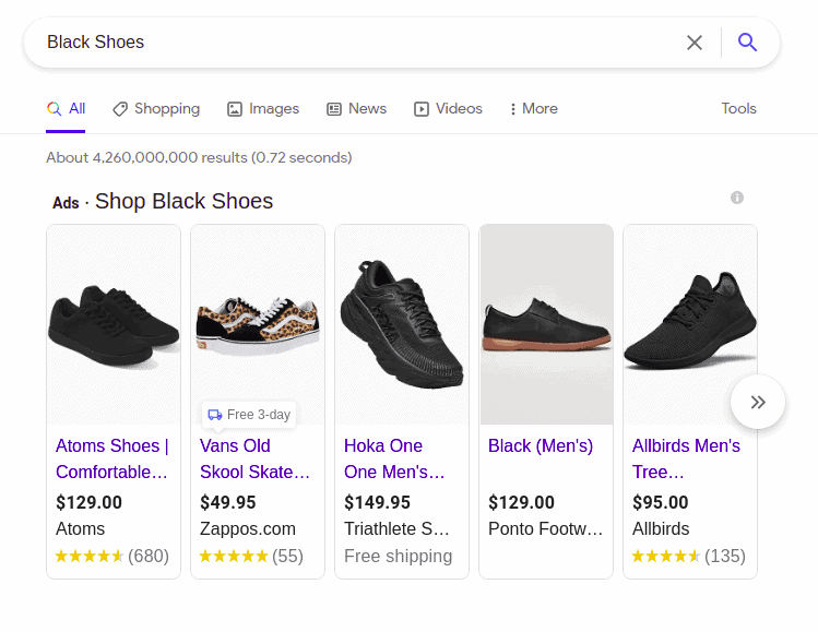 Advertised products from Google Shopping on Google search