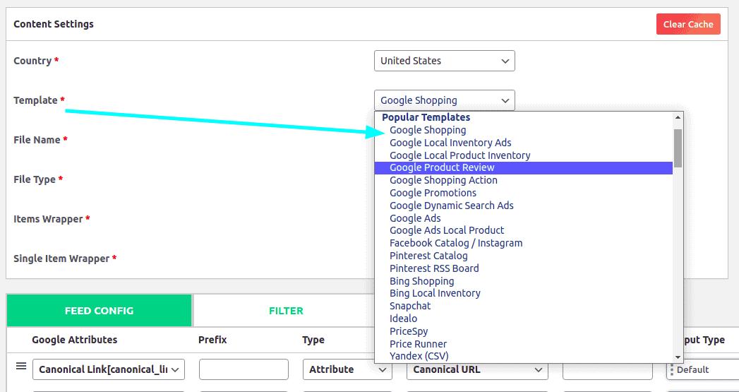 Popular product feed templates on CTX Feed plugin