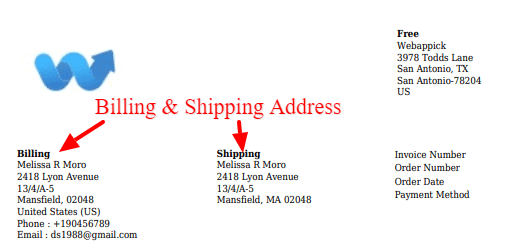 Billing and Shipping Address on packing slip plugin