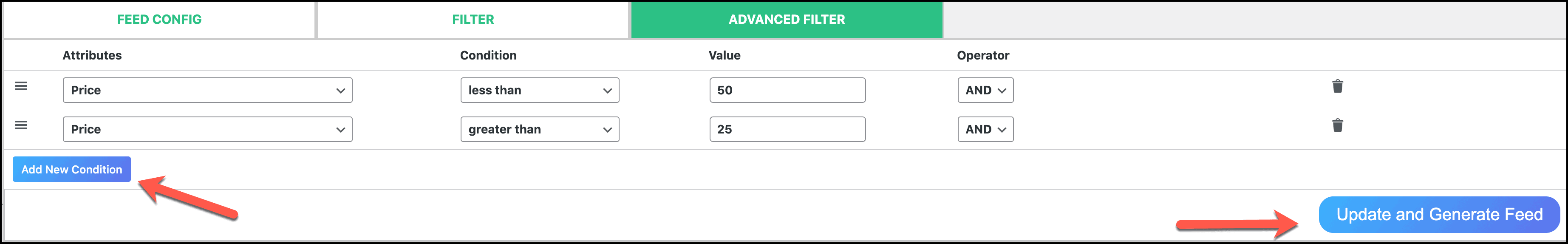 CTX Feed Advanced filter