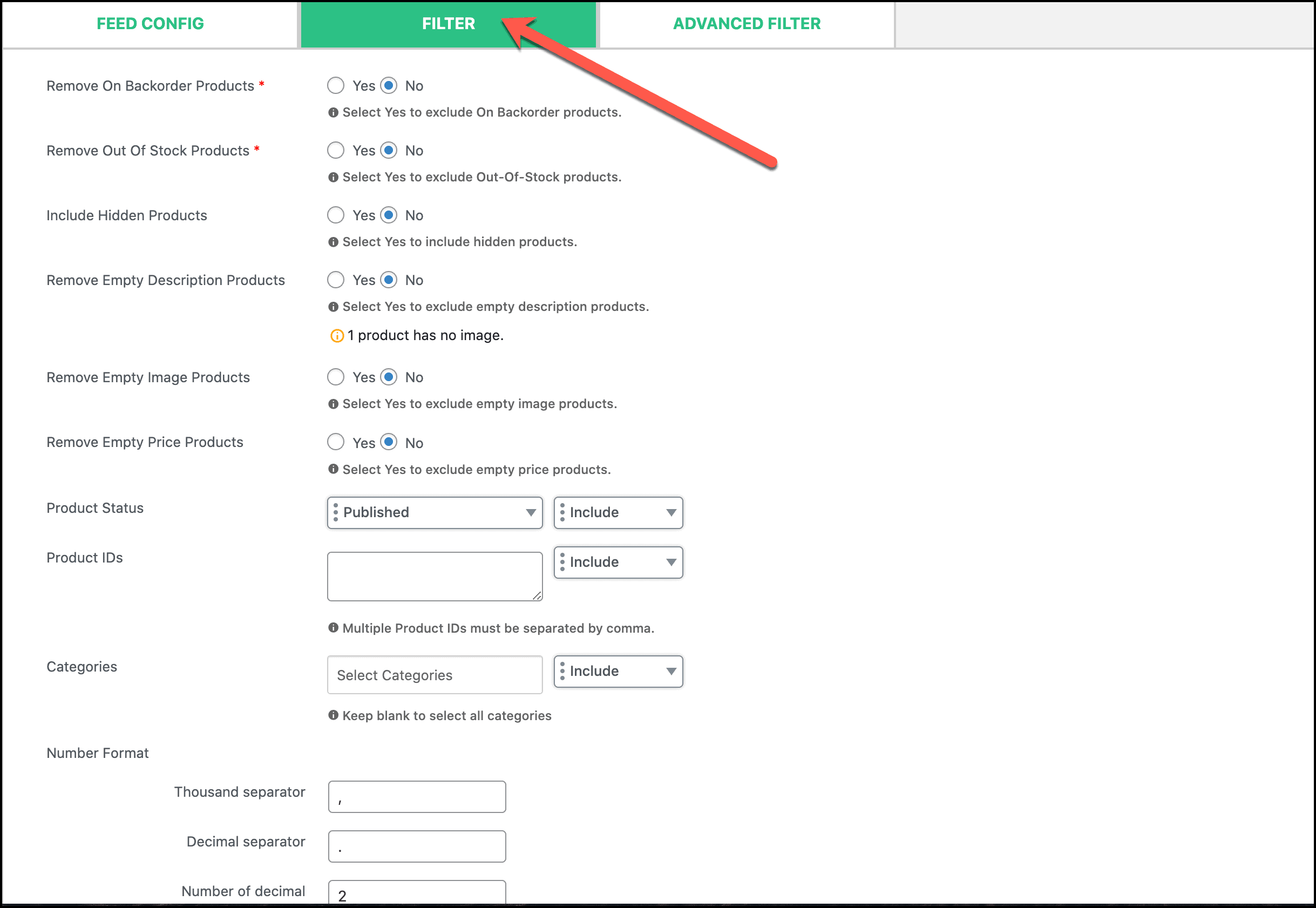 CTX Feed Filter option