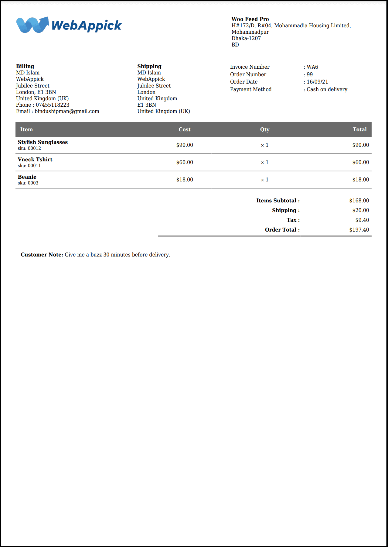 Challan PDF Invoice