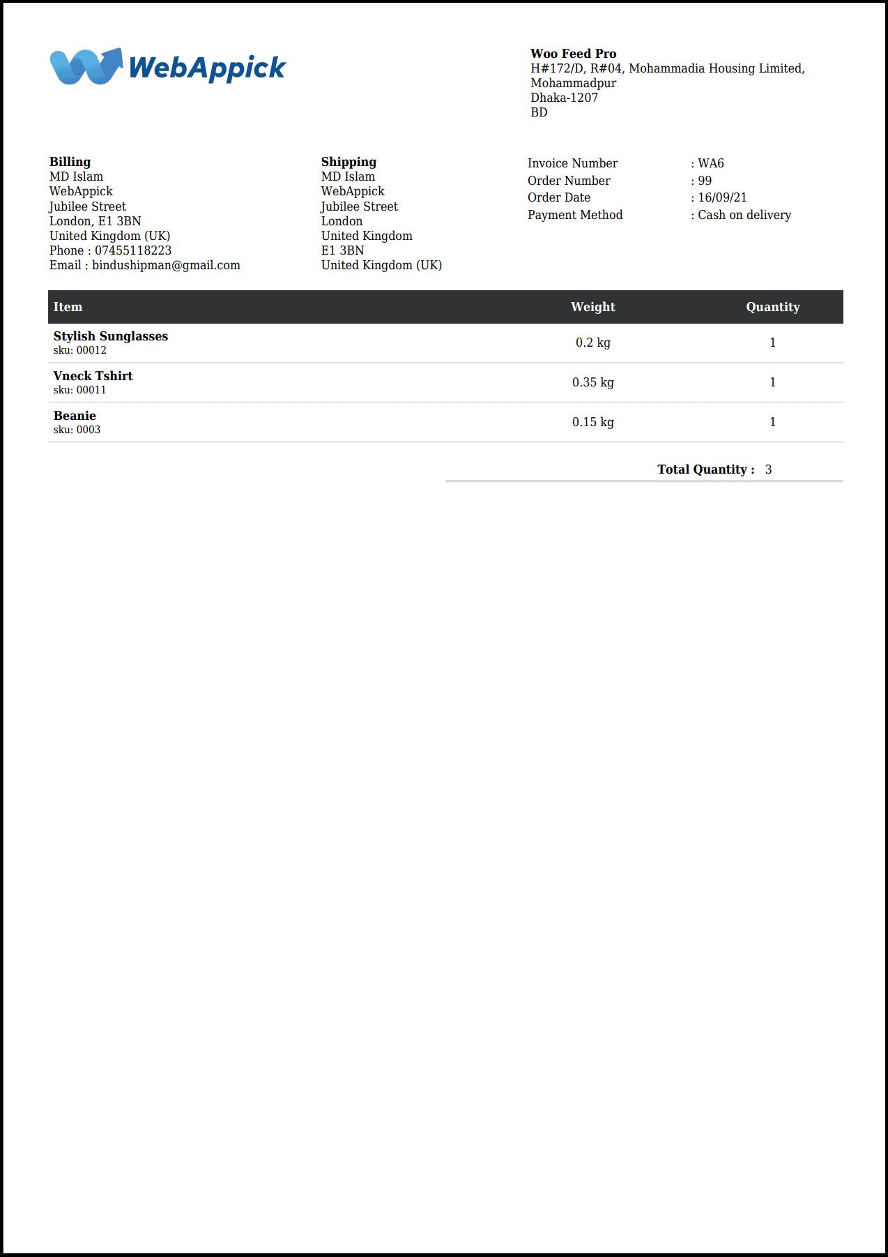 Challan PDF Packing Slip - WooCommerce Invoice generator