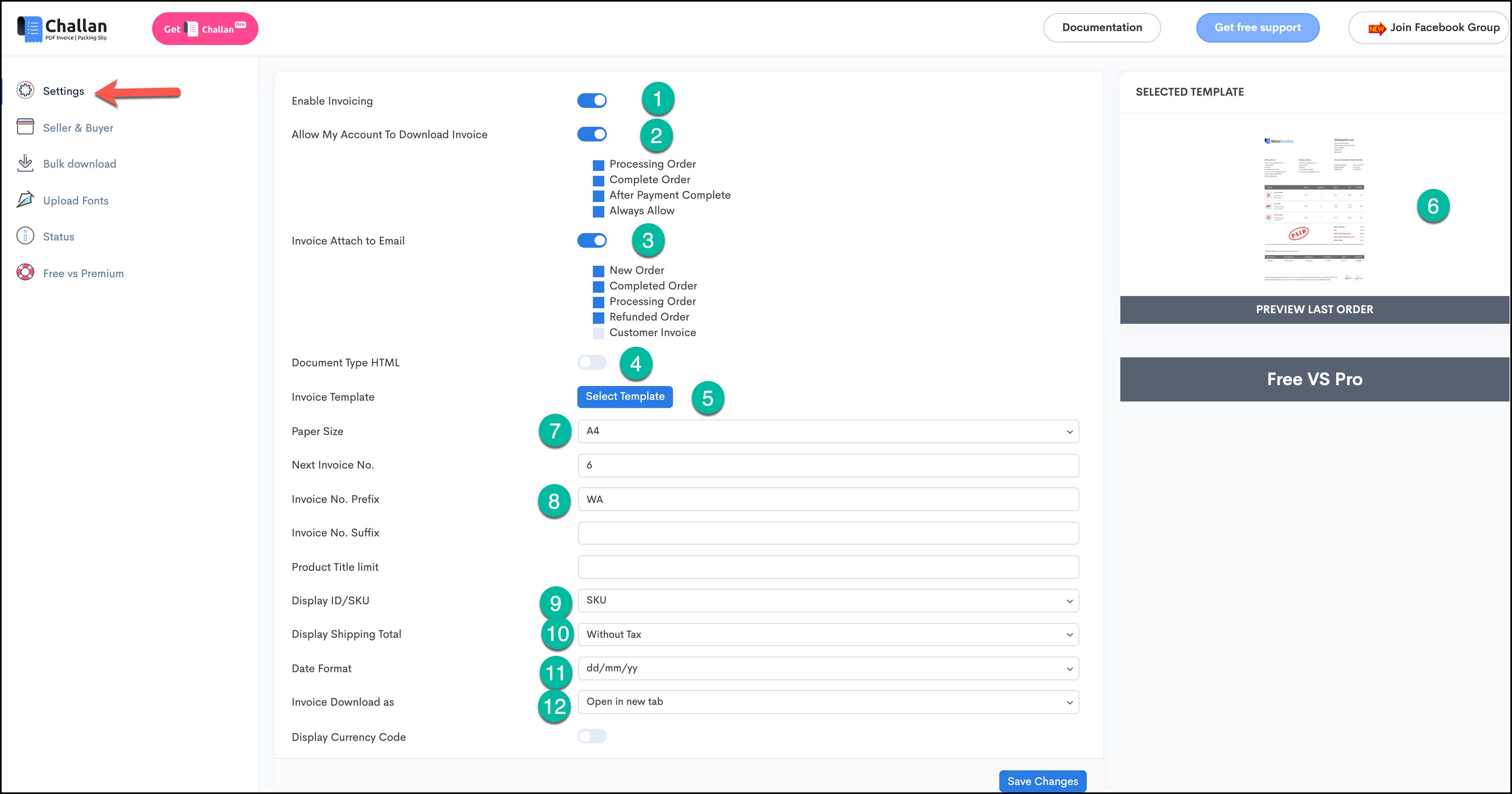 Challan Settings - PDF Invoice generator