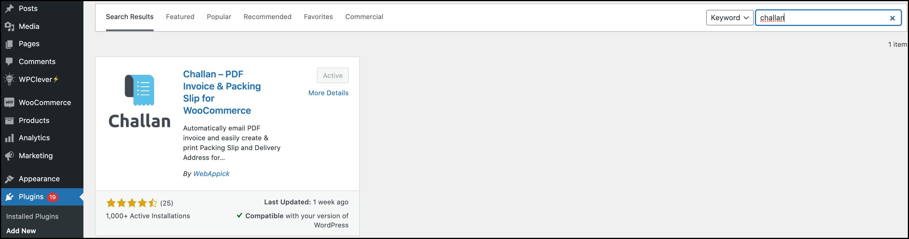 Challan activate on WordPress - WooCommerce Invoice generator