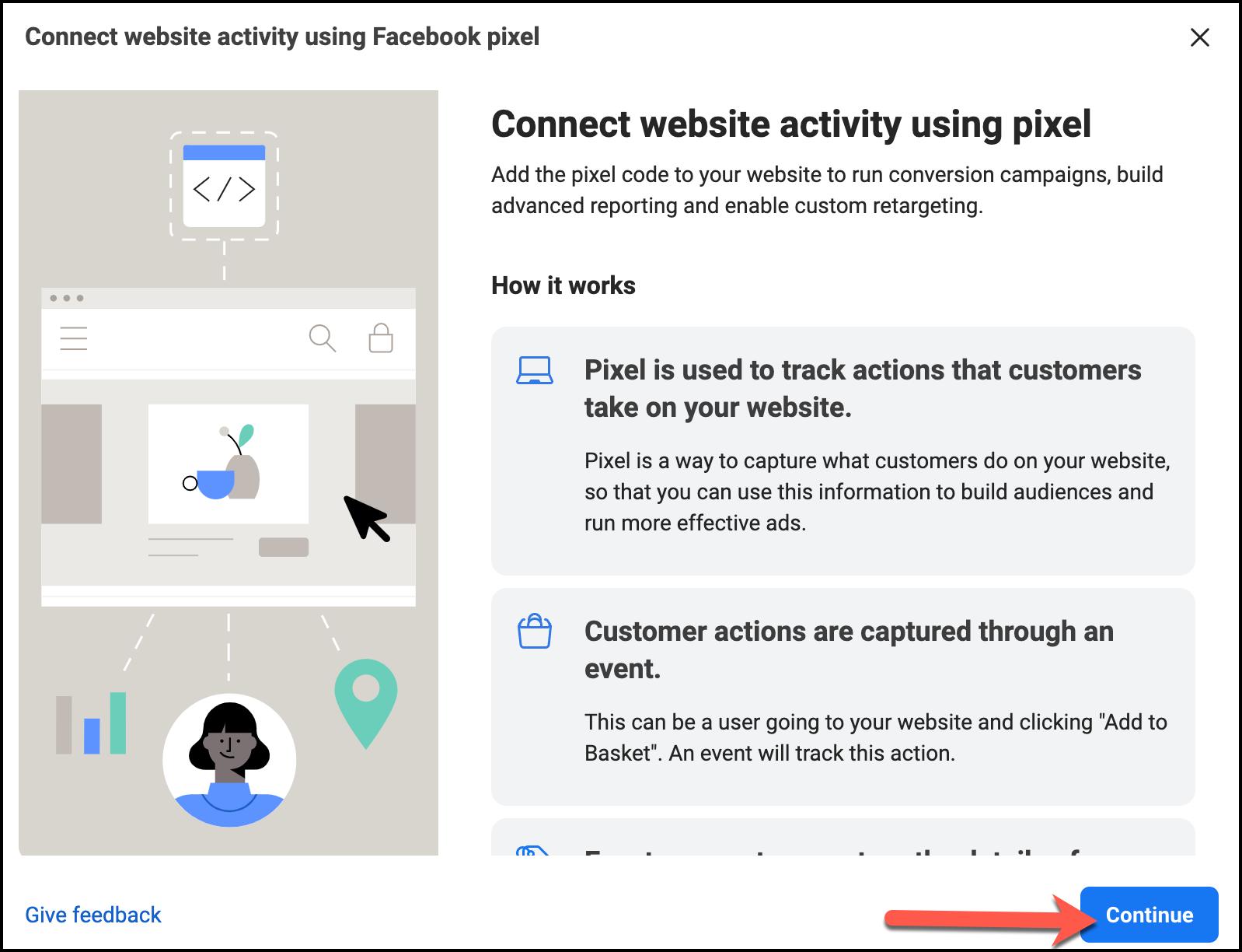 Connect website activity using Pixel