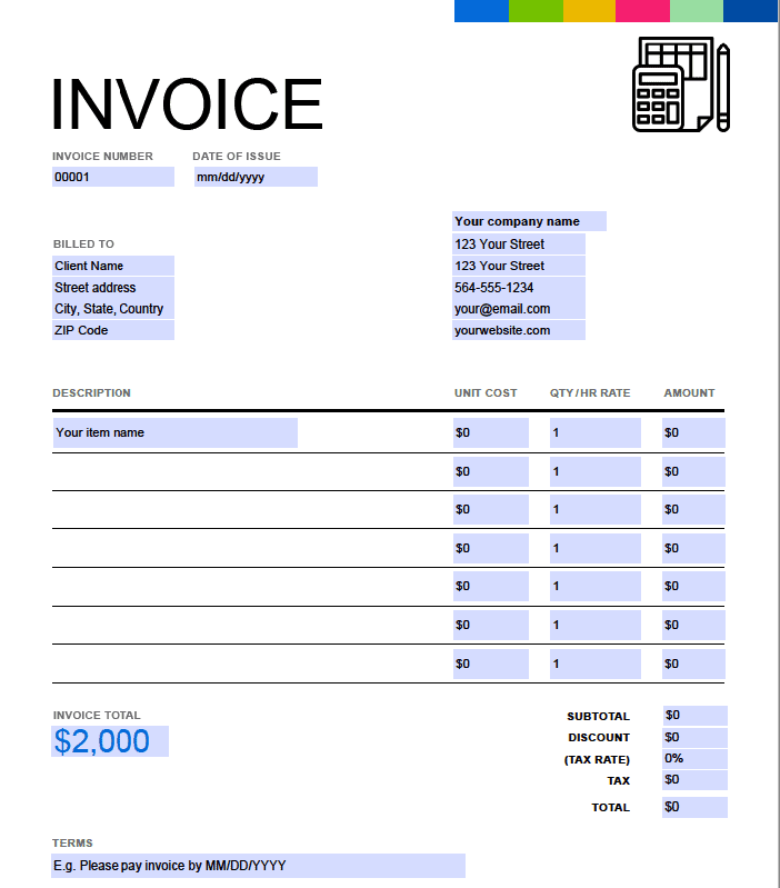 Invoice title at the top of invoice
