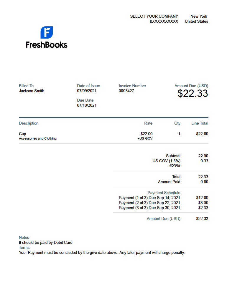 Invoice with payment schedule - PDF invoice generator