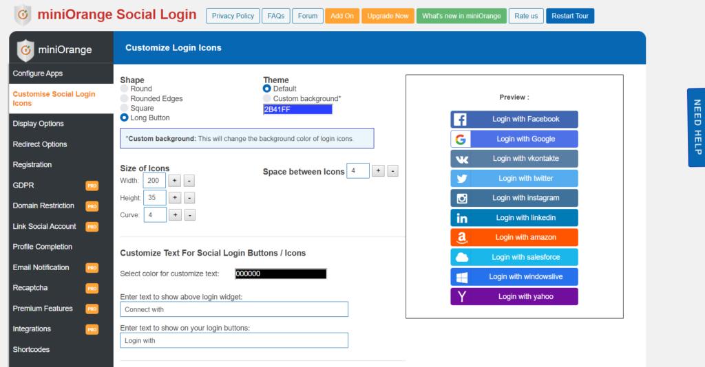 Mini Orange Customisation - WooCommerce Social Login