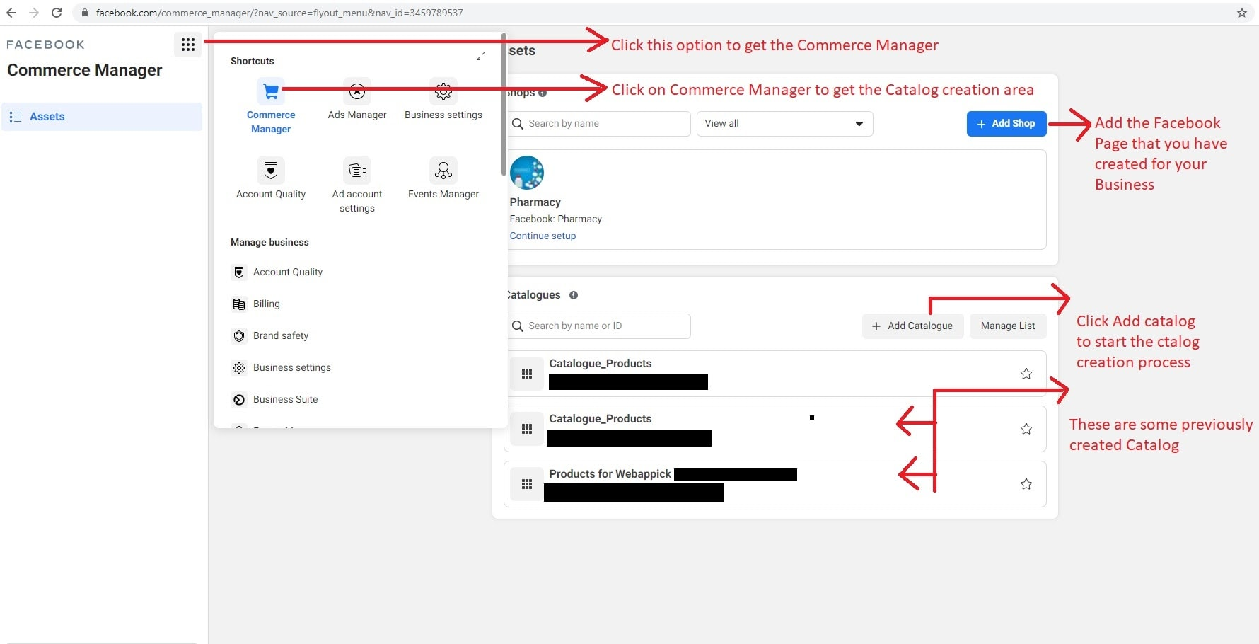 Shops and Catalogues for Facebook Commerce Manager